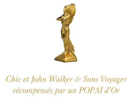 Chic et John Walker & Sons Voyager récompensés par un POPAI d'Or aux Popai Awards 2013