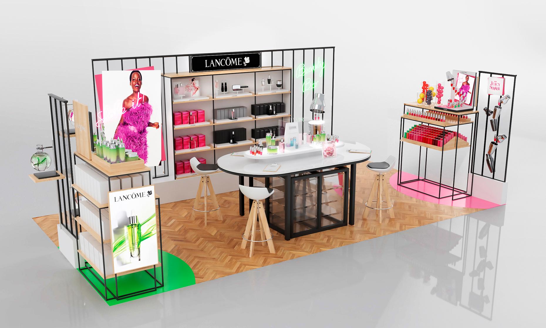 design de point de vente lanc me beauty factory agence chic. Black Bedroom Furniture Sets. Home Design Ideas